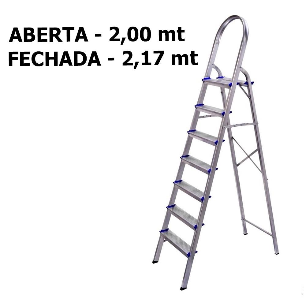 escada aluminio dobravel leve 7 degraus cee07d alume