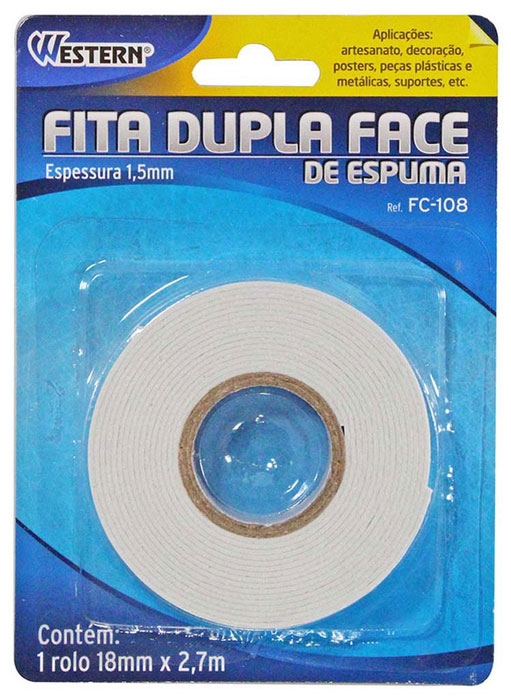 fita dupla face western 18 mm x 2,7 mts - ref fc-108